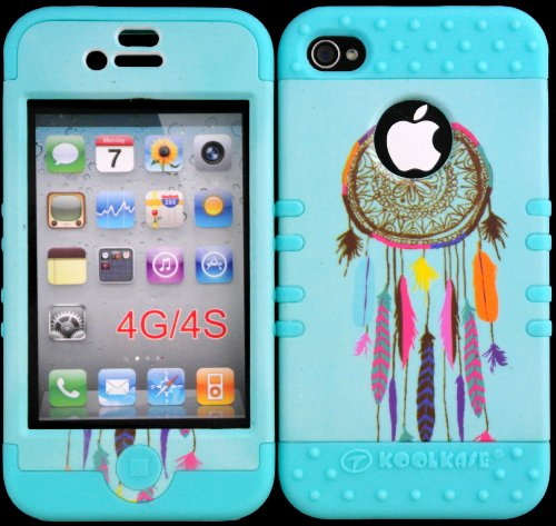 Bumper Case For Iphone 4 4S Dreamcatcher On Teal Design Hard Plastic Snap On Baby Teal Silicone Gel front-918525