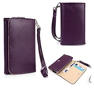 Purple EXXIST Universal Smartphone Wallet Wristlet with Card Holders fits Samsung Galaxy Ace