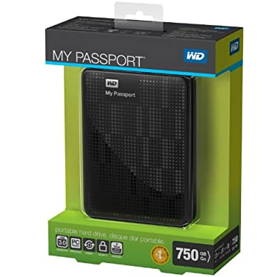 WD My Passport 750GB Portable External Hard Drive Storage USB 3.0 Black (WDBBEP7500ABK-NESN)
