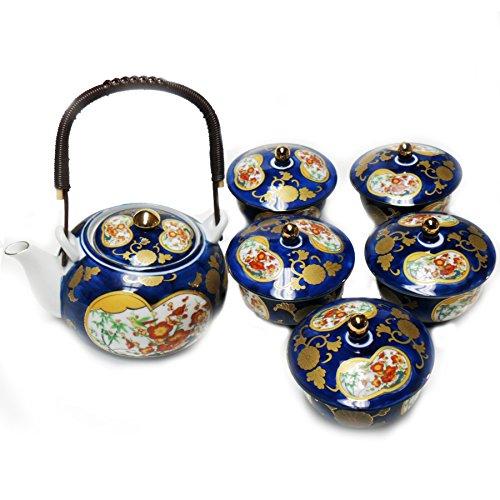 Japanese Tea Pot And Tea Cups Set In Blue - 6 Pcs.