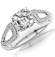 0.65 Carat Asscher Cut / Shape 14K White Gold Vintage Style Split Shank Milgrain Diamond Engagement Ring ( D-E Color , VS2 Clarity ) from Chandni Jewels