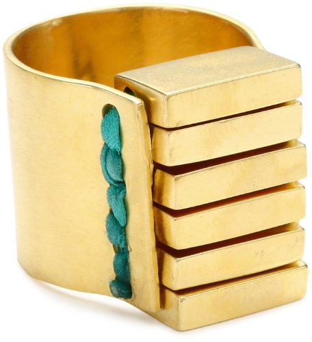 Kelacala Q Brass and Silk Ring, Size 7