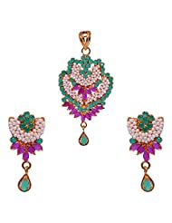 Gehna Pearl, Emerald & Ruby Stone Studded Pendant & Earrings Set Made In Metal