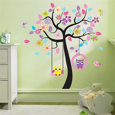 wandtattoo zooyoo wandsticker baum eule deko kinderzimmer xxl 7. Black Bedroom Furniture Sets. Home Design Ideas
