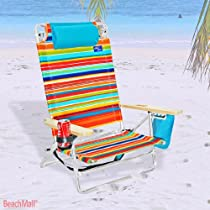 5 position Platinum Lay Flat Beach Chair - Extra Tall Back w/ Drink Holder Copa Color SC: 361