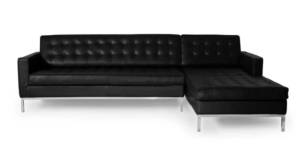 Kardiel Florence Knoll Style Sofa Sectional Right - Black 100% Full Premium Leather