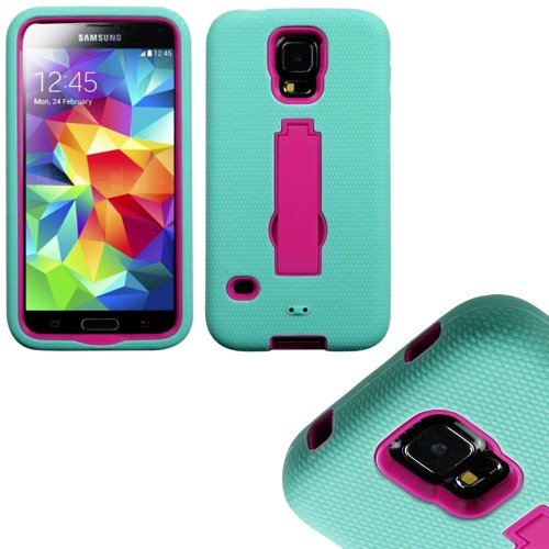 Mylife (Tm) Light Blue And Bright Hot Pink - Shock Suit Survivor Series (Built In Kickstand + Easy Grip Silicone) 3 Piece + 2 Layer Case For New Galaxy S5 (5G) Smartphone By Samsung (External Flex Silicone Bumper Gel + Internal 2 Piece Rubberized Snap Fit