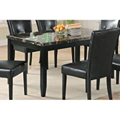 Dining Table with Black Faux Stone Top in Dark Cappuccino Finish
