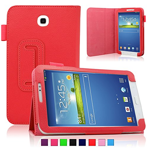 Infiland Folio PU Leather Stand Case Cover For Samsung Galaxy Tab 3 7.0 SM-T210R/T211 (Samsung Galaxy Tab 3 7.0 SM-T210R/T211, Red)