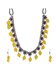 Gehna Mart German Silver Oxidized Necklace Set With Earrings Having Semi Precious Yellow Beads 71.5 Grams