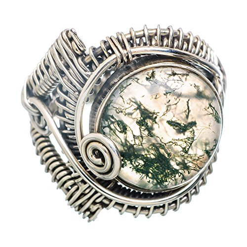 Ana Silver Co Green Moss Agate 925 Sterling Silver Ring Size 9 RING793739 (Moss Agate Ring compare prices)