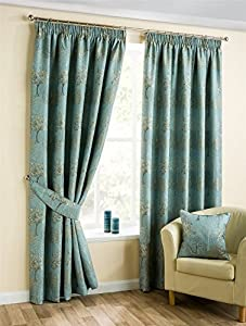 Embroidered Tree Duckegg Blue 66x90 168x229cm Lined Pencil Pleat Curtains Drapes from Curtains