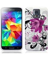 Etui de créateur pour Samsung Galaxy S5 - Etui / Coque / Housse de protection blanc / violet en TPU/gel/silicone avec motif fleurs violettes
