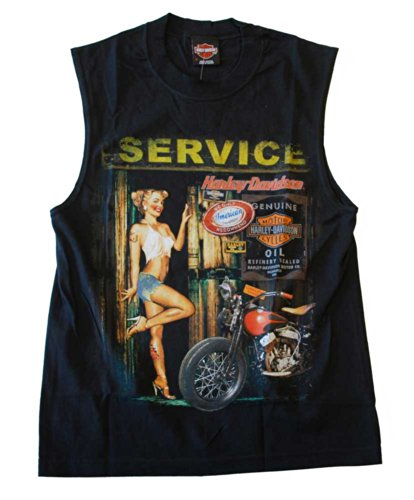 Harley-Davidson Mens Mechanic Babe Sleeveless Muscle Shirt - Black 30291709 (XL)