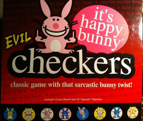 Evil Checkers Classic Game with That Sarcastic Bunny Twist It's Happy Bunny - 1