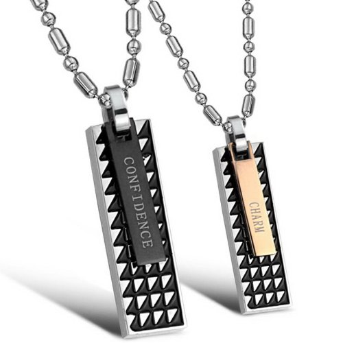 Opk Jewellery Necklaces Confidence And Charm Tag Drop Stainless Steel Neckwear Chains Pendants Necklets