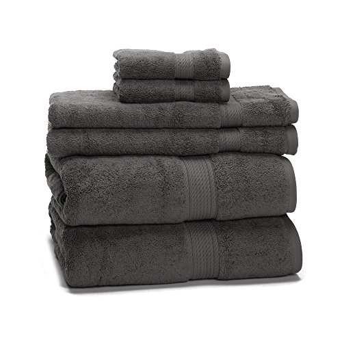 900 Gram 6-Piece Egyptian Cotton Towel Set - Heavy Weight & Absorbent by ExceptionalSheets, Charcoal (Turkish Bath Sheet 900 Gsm compare prices)