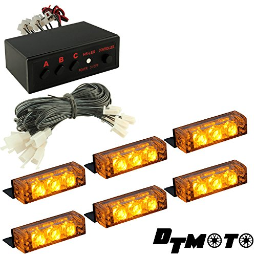 Amber 18X Led Tow Truck Construction Vehicle Warning Grille Lights - 1 Set