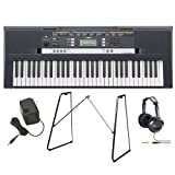 Yamaha PSRE243 Entry-Level Portable Keyboard with Yamaha L3C Keyboard Stand, AC Power Adapter and JVC Full-Size Stereo Headphones