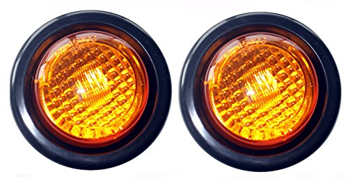 """Pair Of 2 Led 2"""" Round Clearance/Side Marker Light Kit Amaber With Light And Grommet Truck Trailer Rv 15103Ak"""