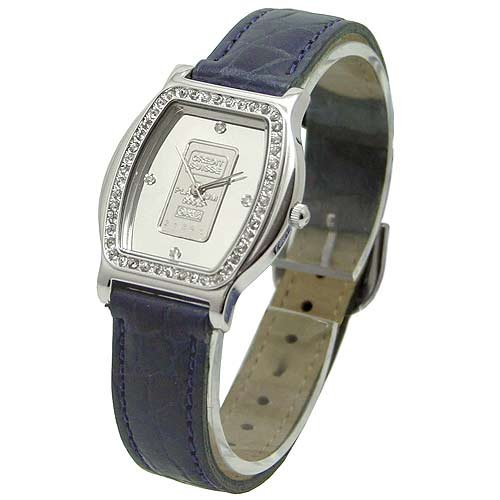 CROTON Swiss Platinum Ingot Watch with Crystal Embossed Bezel & Leather Strap. Model: CR307139BLPI
