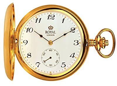 Royal London Pocket Watch 90019-02 Gold Plated Full Hunter