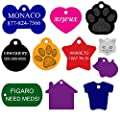 "Dog ID Tags Custom Engraved | 11 Shapes | 8 Colors | by CNATTAGS® (LIFE TIME WARRANTY) LEAVE ENGRAVING DETAIL IN ""Gift Message Area At Checkout"""
