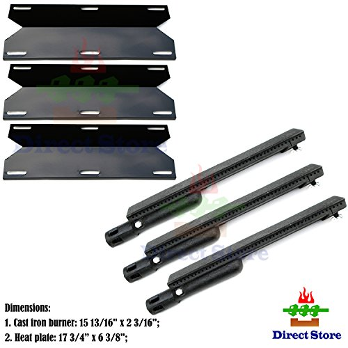 Direct store Parts Kit DG223 Replacement Jenn Air Gas Grill Repair Kit Gas Grill Burner and Heat Plate- 3 Pack (Cast Iron Burner + Porcelain Steel heat plates) (Jenn Air Parts Grill compare prices)