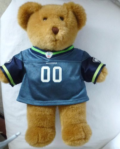 "Build a Bear Workshop 15"" Brown Teddy Bear Plush w/Seahawks Jersey - 1"
