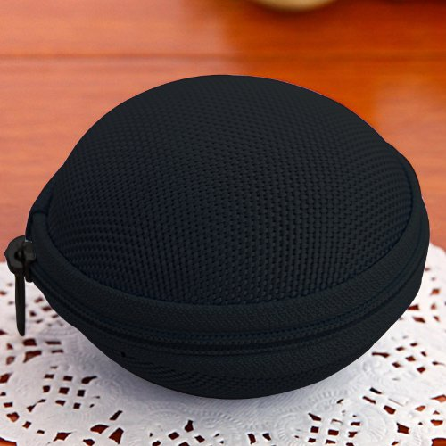 New Cute Small Round Hard Storage Case Coin Purse Wallets Bag Pouch For Earphone Headphone Earbuds Sd Tf Cards Mini Bag In Bag - Xb03 (Black)