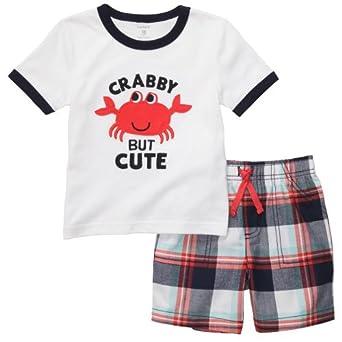 """Carter's """"Crabby But Cute"""" 2-Piece Playwear Shorts Set (3 Months)"""