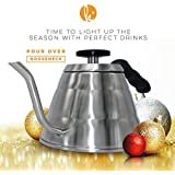 Pour Over Coffee Kettle With Thermometer - Gooseneck Drip Stainless Steel Stovetop Tea Pot (1L)
