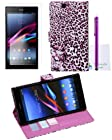 The Friendly Swede 2 in 1 PU Leather Folio Stand Wallet Case Cover for Sony Xperia Z Ultra XL39h C6802 C6806 C6833 + Stylus + Screen Protector + Cleaning Cloth in Retail Packaging (Purple Leopard)