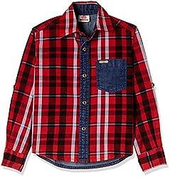 UFO Boys' Shirt (AW16-WF-BKT-250_Red_8 - 9 years)