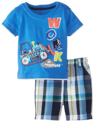 Kids Headquarters Baby-Boys Newborn Tee With Plaided Shorts Work, Blue, 3-6 Months front-651013