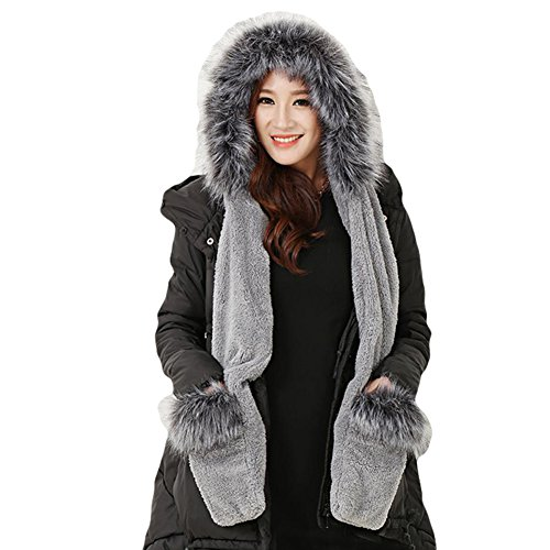 Duoduo888 Faux Fox Fur Winter Warm Ski Hat Hood Hats With Scarf And Mittens Attached Glove Dark Grey