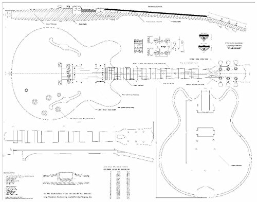 Set Of 2 Guitar Plans - Gibson Es-335 And Gibson Cs-356, -- Full Scale - Actual Size- Making Guitar Or Framing