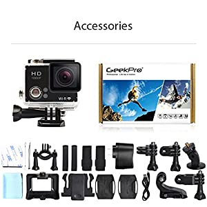 GeekPro 2.0 Plus Sports Camera Full HD 1080P Diving Camcorder Bundle with Battery, Waterproof Housing and Accessories (15 Items)