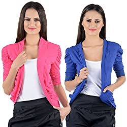 Pink & Blue Cotton Gathering Sleeve Regular Fit Shrugs (Combo Set of 2)