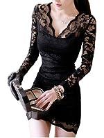 Demarkt Sexy Robe Femmes / en Voile Dentelle avec Manches Longue / Couleur Noir/ Taille S/M/L/XL