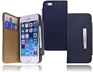 Burkley Premium Folio Book Case Tasche für das Apple iPhone 5 / 5S Etui Wallet Flip Cover Schutzhülle mit EC-/ Kreditkartenfach und festem Magnetverschluss in schwarz/ black - bi-color