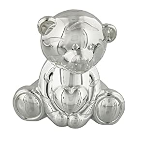 Silverplated Bear and Heart Money Box