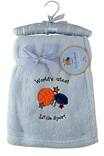 "Embroidered Baby Blanket - Plush with ""World's Cutest Little Sport"" with A Basketball, Football & Baseball - Blue (30"" x 40"", Blue - World's Cutest Little Sport)"