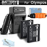 2 Pack Battery And Charger Kit Bundle For Olympus TOUGH TG-Tracker, TG-1 iHS, TG-2iHS, TG-3, TG-4 Waterproof Digital Camera Includes 2 Replacement (1500Mah) LI-90B, LI-92B Batteries + Charger + More