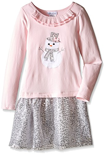 Bonnie Jean Big Girls' Snowman Dress, Pink, 10