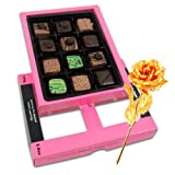 Elite Expression Of Pralines Chocolates With 24k Gold Plated Rose - Chocholik Belgium Chocolates