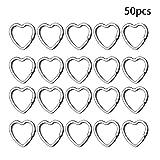 50 Pcs Heart Shape Keyring Key Rings Keychain Crafts DIY Split Rings for Home Car Keys (Color: Silver, Tamaño: Large)