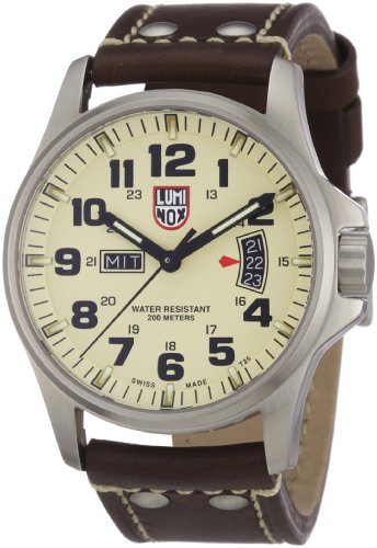 Luminox LU1827 Field Time Date 1800 Ivory Dial Brown Leather Strap Men's Watch