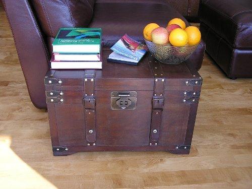 Gold Rush Steamer Trunk Wood Storage Wooden Treasure Chest - Medium Trunk