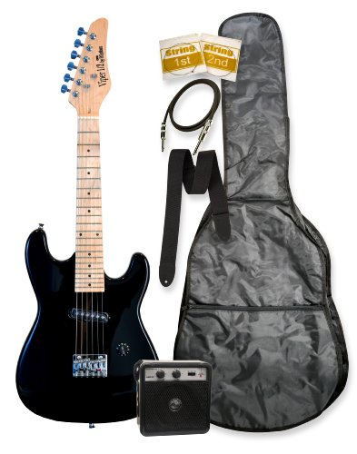 "32"" Junior Kids Mini 1/2 Size Electric Starter Guitar And Amplifier Pack With Free Gig Bag And Accessories Black Electric Starter Guitar & Directlycheap(Tm) Translucent Blue Medium Guitar Pick"